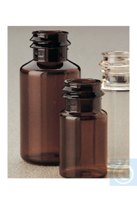 Nalgene™ Translucent Amber PETG Serum Vials with Continuous Thread: Sterile, Shrink-Wrapped...
