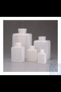 Nalgene™ quadratische HDPE-Flaschen mit Verschluss 1l Case of 24 53mm