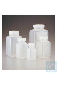 Nalgene™ Square Wide-Mouth PPCO Bottles with Closure 53mm 500mL Case of 48