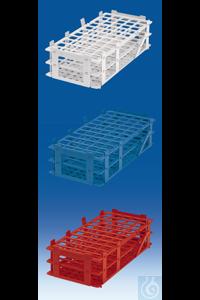 Support pour tubes à réaction, colorée, PP, 84 emplacements pour tubes jusqu'à Ø 13 mm, blanc
