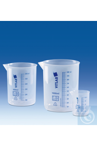 Griffin beaker, PP, raised blue embossed scale, 1000 ml