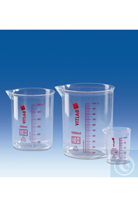 Griffin beaker, PMP, printed red scale, 1000 ml