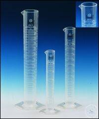 Volumetric cylinder, PMP, class A, CC, tall form, raised scale, 250 ml