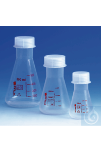 Sale Erlenmeyer flask, PMP, wide-mouth, with screw cap, PP, GL 40, 50 ml