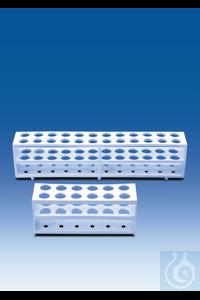 Support pour tubes à réaction, PP, 12 emplacements pour tubes jusqu'à Ø 21 mm, blanc