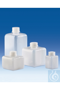 4Artículos como: Narrow-mouth bottle, PE-HD, with screw cap, PP, square, 100 ml Narrow-mouth...