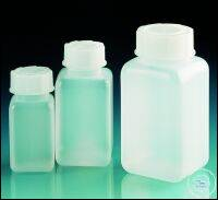 Wide-mouth bottle, PE-HD, with screw cap, PP, square, 1000 ml Wide-mouth...