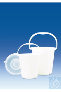 Bucket, PE-HD, white, without lid, graduated, 5 l