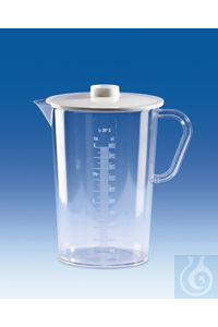 Collector, SAN, with lid, PC, raised scale, 2000 ml