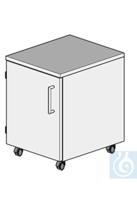 cabinet on castors L400/H550  dimension: 400x470x550 mm (LxTxH)  one door (hung left) with one...