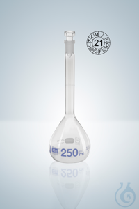 Volumetric flask DURAN®, cl.A, blue grad,  25:0,06 ml, NS 12/21, H 110 mm Volumetric flasks...