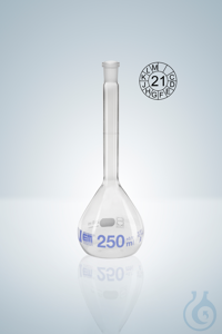 Volumetric flask DURAN®, cl.A, blue grad,  200:0,15 ml, NS 14/23, H 210 mm Volumetric flasks...