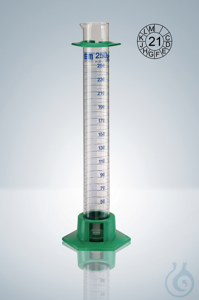 Measuring cylin. DURAN®, cl.A, blue grad,  10:0,2 ml, H 140 mm Measuring cylinder DURAN®, class...