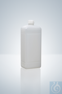 Narrow neck bottle, square,PE-HD,natural, 100 ml, height 111 mm, GL 18, 33x41...