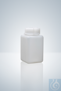 Wide neck bottle, square, PE-HD, natural, 20 ml, height 38 mm, GL 28, 35x35...