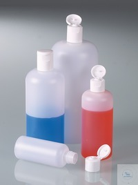 Round bottle w/ snap closure, HDPE, 250 ml Round bottle 250 ml, HDPE with hinged lid