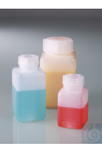 Wide-necked square bottle, HDPE, 500 ml, w/ cap Wide-necked square bottle 500 ml HDPE, with cap