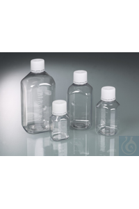 Laboratory bottle 125 ml, PET, sterile transparent, moulded graduation with tamper-evident cap...