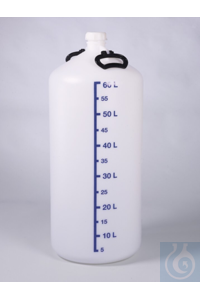 Storage bottle w/o thread. con., HDPE, 60l, w/ cap Robust storage bottle with particularly thick...