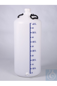 Storage bottle w/ thread. con., HDPE, 60 l, w/ cap Storage bottle 60 liters HDPE, with threaded ends