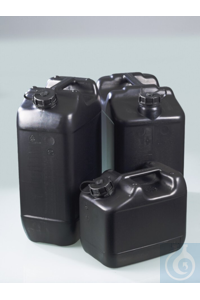Electr. conductive canister, HDPE, UN, 10l, w/ cap Canister 10 L, 300x200x258mm carrying handle,...