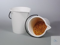 Laboratroy bucket, PE white, w/ spout, 10 l Laboratory bucket for transporting, decanting and...