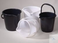 Bucket HDPE, black, w/ spout and scale, 10,5 l Bucket 10,5 ltr., PE, black   Bucket HDPE For...