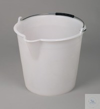 Industrial bucket, LDPE white, w/ metal handle, 9l Industrial bucket for transporting, decanting...