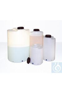 Mixing/dosing container, open. Ø 132mm, 60l, w/cap The containers close completely tight. They...