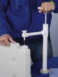 PTFE barrel pump Ultrapure w/discharge tube, 40 cm Barrel pump with rigid discharge tube with...