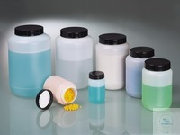 Wide-necked box round, HDPE, 100ml, Ø 48 mm, w/cap Wide-necked containers with very good shatter...