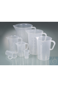 Graduated beaker w/handle, PP, 5000ml,transp.grad. Graduated beakers made of PP are virtually...