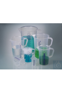Graduated beaker w/handle, PP, 100 ml, blue grad. Graduated beakers made of PP are virtually...