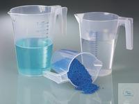 Messbecher, stapelbar, PP, 1000 ml, offener Griff Messbecher mit blau gedruckter Skala, offenem...