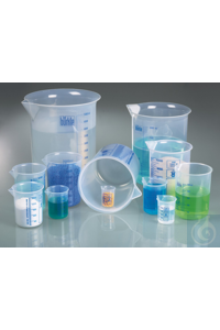 Laboratory/ Griffin beaker PP, 25 ml, blue scale Laboratory beakers according to DIN 12331 and...