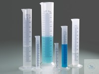 Grad. cylinder, PP, blue scale, categ. B, 500 ml Measuring cylinder, tall shape, according to DIN...