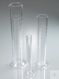 Messzylinder, SAN glasklar, Klasse B, 100 ml Messzylinder, hohe Form, nach DIN 12681 (Glas)/ISO...