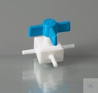 PTFE-Ventil, Dreiwege, Ø 10 mm, NW 4 mm, autoklav. Zweiwege- / Dreiwege-Ventile aus massivem PTFE...