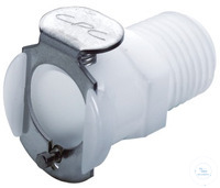 CPC coupling, PP, female, w/ valve, 3/8