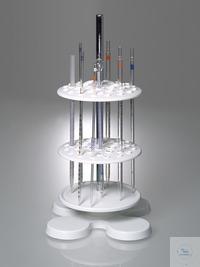 Pipettenständer, drehbar, mit 40 Stellplätzen Gestell für Pipetten mit zwei drehbaren Lochplatten...