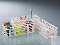 Test-tube rack, PP, white, for 60 tubes to Ø 16mm Universal test tube rack with retention system....
