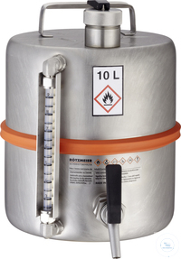 Safety barrel (10 liters) with self-closing tap and content level...