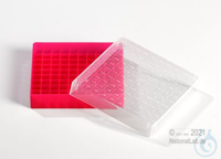 EPPi® Cryobox 0.5 / 10x10 divider, red, height 34 mm fix, with ID code, PP....