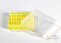 EPPi® Cryobox 1.0 / 10x10 divider, yellow, height 40 mm fix, with ID code,...