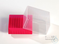 EPPi® Cryobox 5.0 / 10x10 divider, red, height 94 mm fix, with ID code, PP....