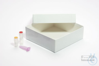 ALPHA Box 50 / 1x1 without divider, white, height 50 mm, fiberboard standard....