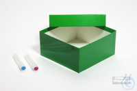 ALPHA Box 75 / 1x1 without divider, green, height 75 mm, fiberboard standard....