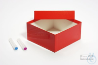 ALPHA Box 75 / 1x1 without divider, red, height 75 mm, fiberboard standard....