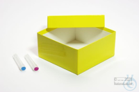 ALPHA Box 75 / 1x1 without divider, yellow, height 75 mm, fiberboard special....