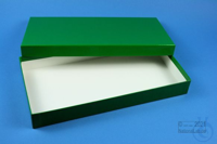 ALPHA Box 32 long2 / 1x1 without divider, green, height 32 mm, fiberboard...